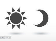 Sun et icône plate de lune Dirigez le logo pour le web design, le mobile et l'infographics Photo libre de droits