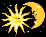 Sun et la lune Photo stock