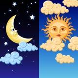 Sun et lune Photos libres de droits