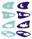 Sun et lune ont isolé des graphismes de temps, clipart (images graphiques) Photo libre de droits