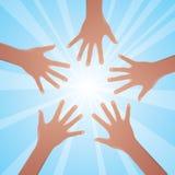 Sun et mains Images libres de droits