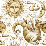 Sun et modèle sans couture de lune ensemble d'illustration d'aquarelle de symboles célestes, le soleil, lune, étoile, dragon, écl Photos libres de droits