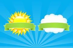 Sun et nuage avec des bandes Images stock