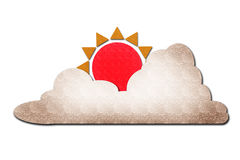 Sun et nuage eau-eau sur le blanc Images libres de droits