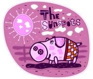 Sun et porc Images libres de droits