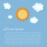 Sun et rétro vecteur grunge de fond de nuage Image libre de droits