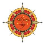 Sun et visage de lune dirigent l'allégorie d'isolement sur le fond blanc illustration libre de droits