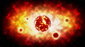 The sun explosion and planet on space . illustration Stock Photos