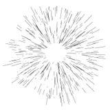 Sun-Explosion, Sternexplosionssonnenschein Ausstrahlend von der Mitte von dünnen Strahlen, Vector Linien Illustration Lizenzfreies Stockbild