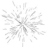 Sun-Explosion, Sternexplosionssonnenschein Von der Mitte von dünnen Strahlen ausstrahlen, Linien Dynamische Art Abstrakte Explosi Lizenzfreies Stockfoto