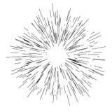 Sun-Explosion, Sternexplosionssonnenschein Von der Mitte von dünnen Strahlen ausstrahlen, Linien Dynamische Art Abstrakte Explosi Stockbild