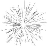 Sun-Explosion, Sternexplosionssonnenschein Von der Mitte von dünnen Strahlen ausstrahlen, Linien Dynamische Art Abstrakte Explosi Stockfotografie
