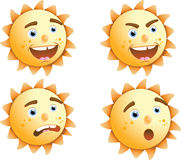Sun expressions. Illustrations of a sun character with several expressions Stock Photos