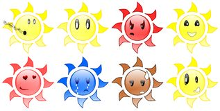 Sun expressions Royalty Free Stock Images