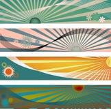 sun för backgorundsbanerstråle vektor illustrationer