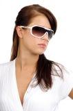 sun för brunettmodeexponeringsglas royaltyfri fotografi