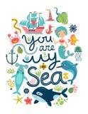sun för hav för bakgrundsfiordsstråle stock illustrationer