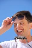sun för kant för dragspels- exponeringsglasgrabb skratta arkivbilder