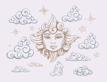 Sun. With the face. Clouds and stars. vector illustration Royalty Free Stock Image