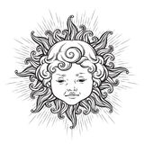 Sun with face of cute curly smiling baby boy isolated. Hand drawn sticker, coloring book pages, print or boho flash tattoo design Royalty Free Stock Photos