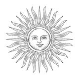 Sun with face engraving style vector illustration Royalty Free Stock Photography