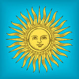 Sun with face engraving style vector illustration Royalty Free Stock Photos