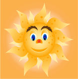 Sun with face - eyes, nose, mouth. Card with huge smiling sun with eyes and mouth Royalty Free Stock Photos
