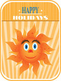 Sun with face - eyes, nose, mouth. Card with huge, smiling sun with eyes and mouth on striped background Royalty Free Stock Images