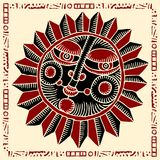 Sun face red and black woodcut Royalty Free Stock Photography