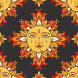 Sun with face and stars on the sky. Vector vintage seamless pattern. Stock Photo