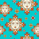 Sun with face and stars on the sky. Vector vintage seamless pattern. Stock Photography