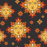 Sun with face and stars on the sky. Vector vintage seamless pattern. Stock Image