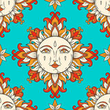 Sun with face and stars on the sky. Vector vintage seamless pattern. Royalty Free Stock Photography