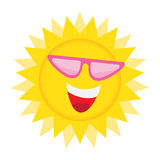 Sun Face with sunglasses and Happy Smile. Summer Sun Face with sunglasses and Happy Smile. Vector Illustration Stock Photo