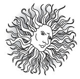Sun with faces in the Renaissance Style Stock Photography