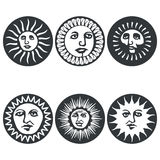 Sun faces. Vector illustration Stock Images