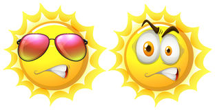 Sun with facial expression. Illustration Stock Photo