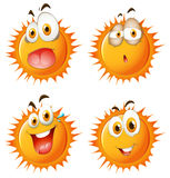 Sun with facial expressions Stock Image