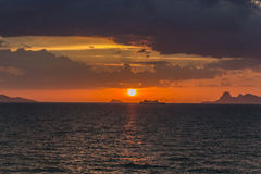 The sun is falling in the sea. The sun is falling in the sea at Samui Island, Thailand Royalty Free Stock Photos