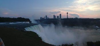 Sun Falls on Niagara. Sunset Niagara falls Toronto skyline Stock Images