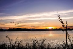 Sun falls over the reservoir royalty free stock images