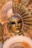 Sun fan masked woman Stock Photo