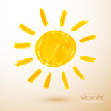 Sun. Felt pen drawing Royalty Free Stock Image
