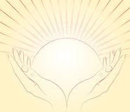 The sun in female hands. Royalty Free Stock Photos
