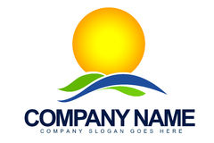 Sun and Field Logo Royalty Free Stock Images