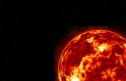 The Sun. Sun with Fiery Explosions, Thermal Winds and Swirling Turbulence Royalty Free Stock Photos