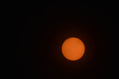 Sun, filtered, no sunspots January 2017. Winter sun.  Showing lack of sunspots in 2017, next maximum circa 2050 - 2070 Royalty Free Stock Photo