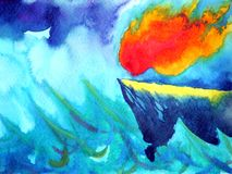 Sun fire flame power in raining storm energy watercolor painting. Illustration design hand drawing Stock Photos