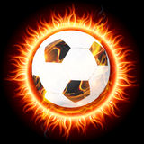 Sun fireball moving on fire circle vector. Hot fire ball is moving on fire circle on black background Royalty Free Stock Photo