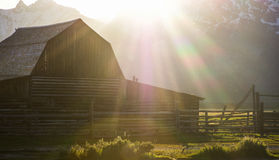 Sun flairs falling on historical antique barn. Historical barn that is handcrafted from pine boards and old logs Royalty Free Stock Photo